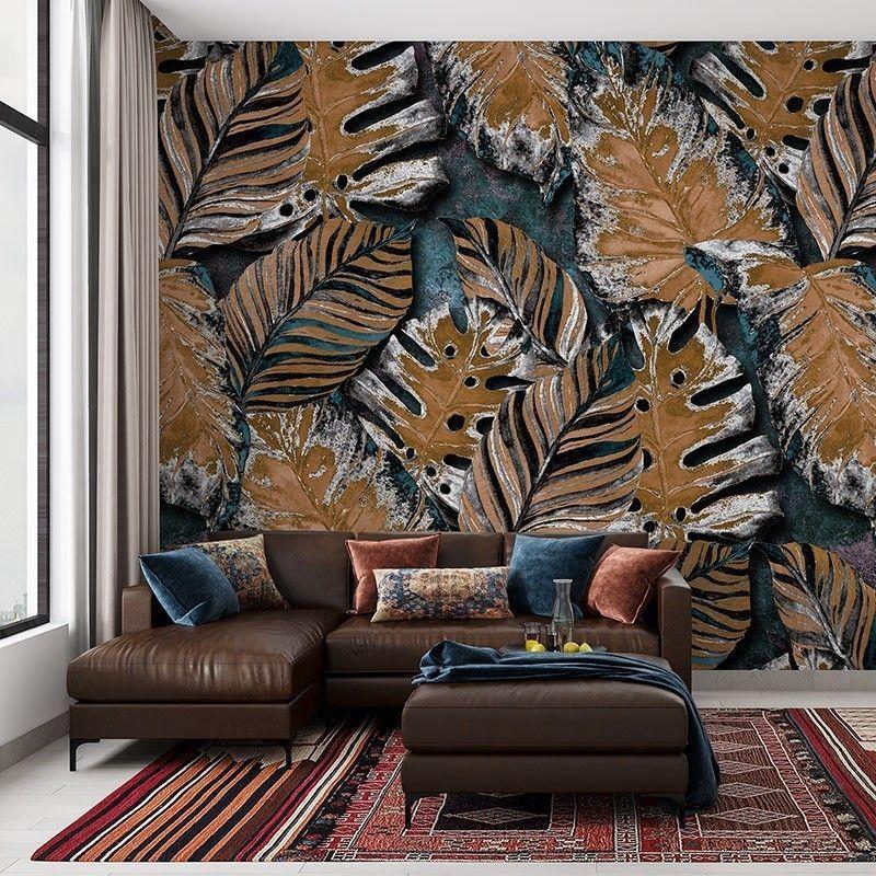 Fototapeta Jesienne Rude Liście - botaniczny wzór, wzór do salonu, sypialni