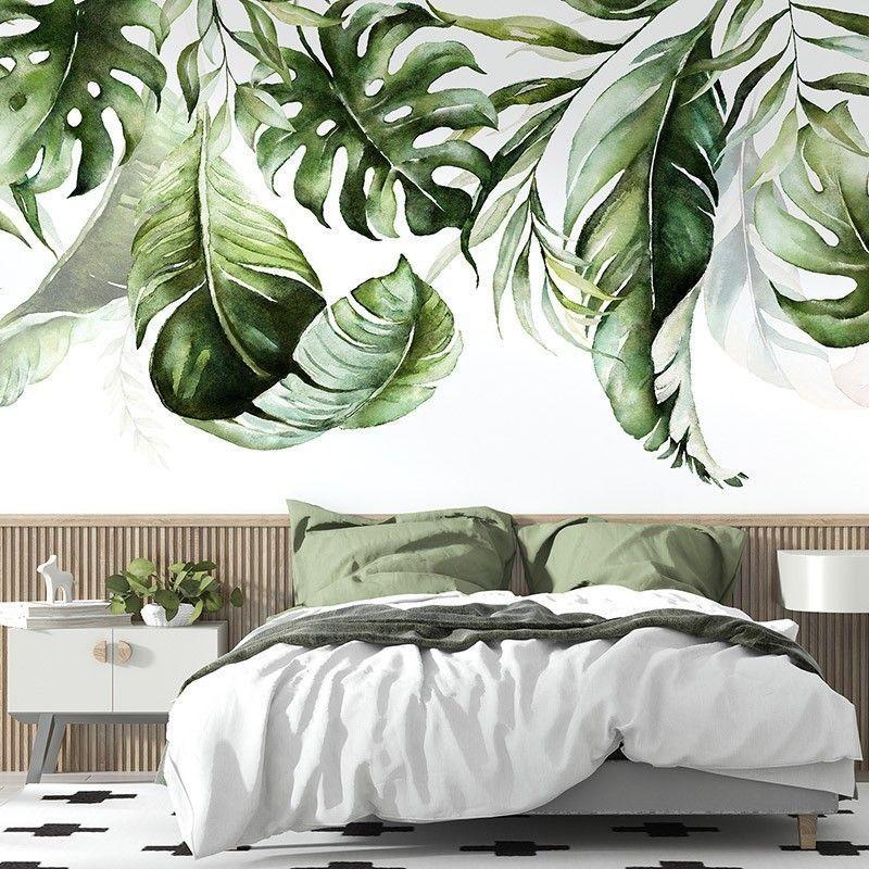 Fototapeta Zielone tropikalne liście na białym tle malowane akwarelą