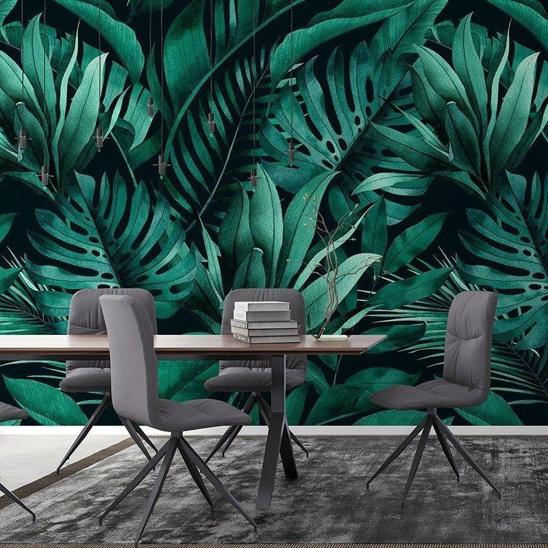Fototapeta Tropikalny wzór egzotycznych liści monstera, bananów i palm na ciemnym tle