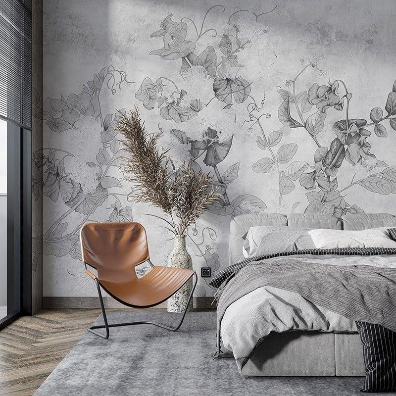 Fototapeta Malowane liście na betonowej ścianie