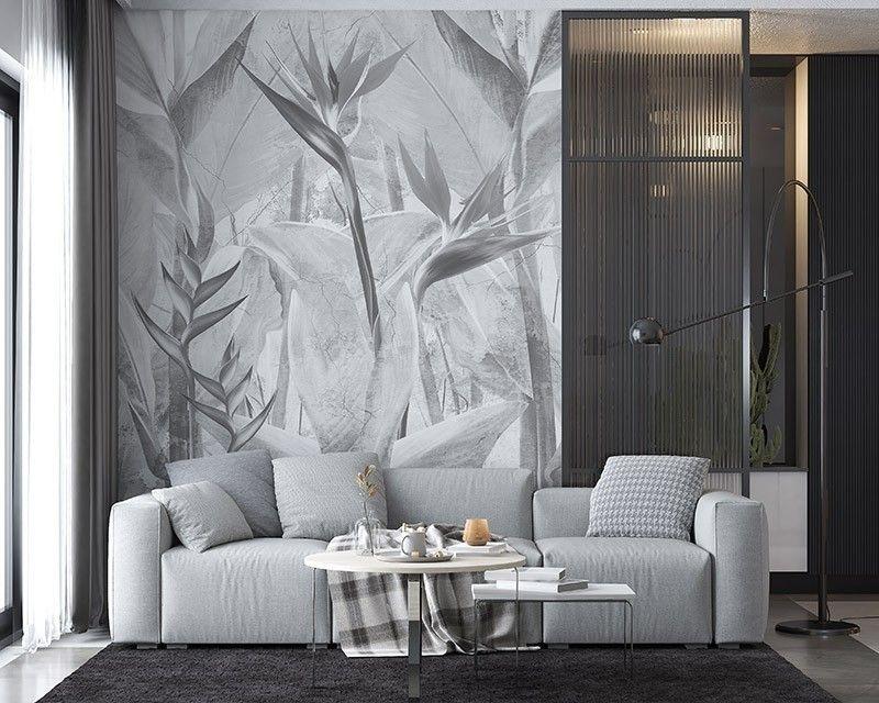 Fototapeta Egzotyczne szare liście tropikalne na jasnej ścianie
