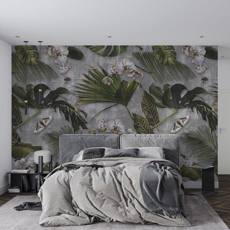 Orchidea i liście palmy na betonowym tle, wzór botaniczny