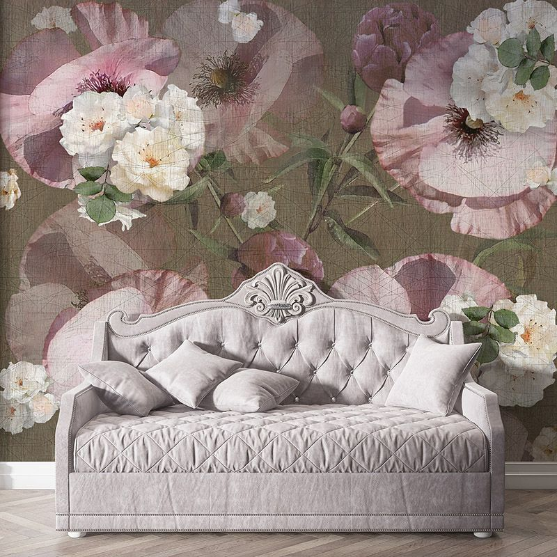 Fototapeta kwiaty bratki na teksturowanym tle