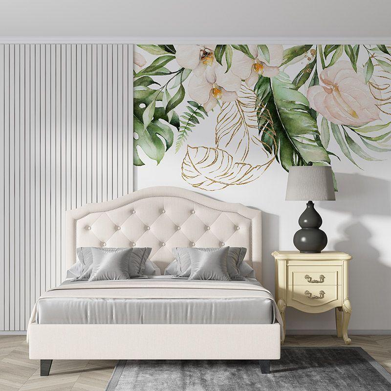 Fototapeta tropikalne kwiaty i liście na białym tle