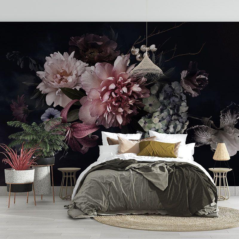Fototapeta bukiet kwiatów 3D w stylu vintage na czarnym tle