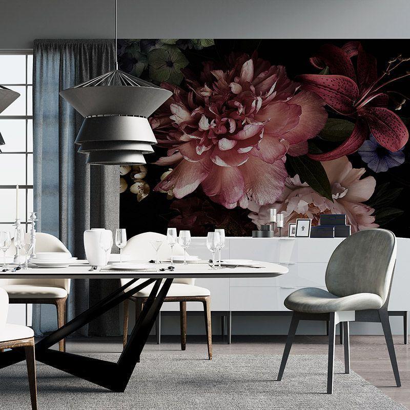 Fototapeta Kwiaty 3D na czarnym tle