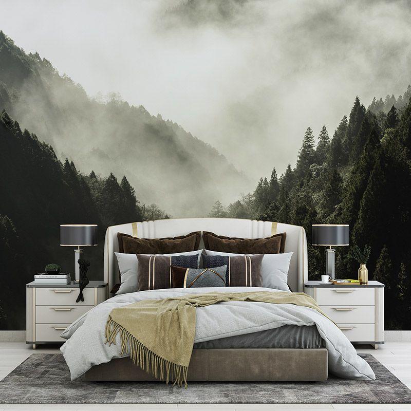 Fototapeta świerkowy las we mgle