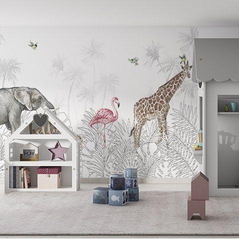 Fototapety Dziecięce>Słoń, flaming, żyrafa wśród czarno białych liści
