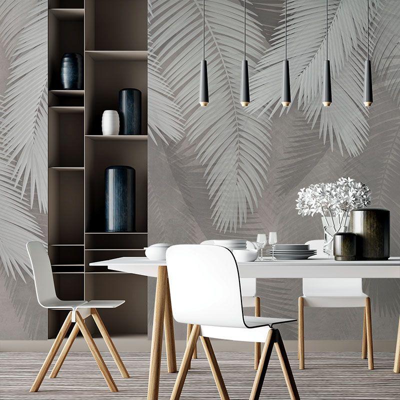 Fototapeta liście palmy na tle w kolorze taupe