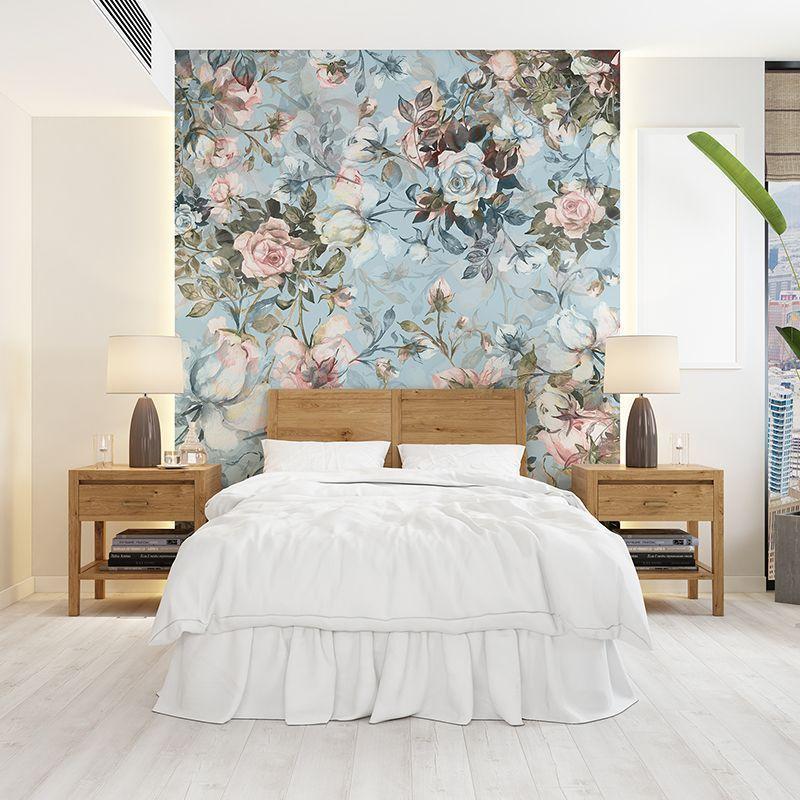 Fototapeta kwiatowy wzór na niebieskim tle