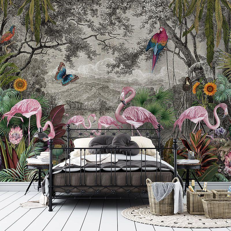 Tropikalny Las z egzotycznymi Ptakami - różowe flamingi, papugi kolorowe