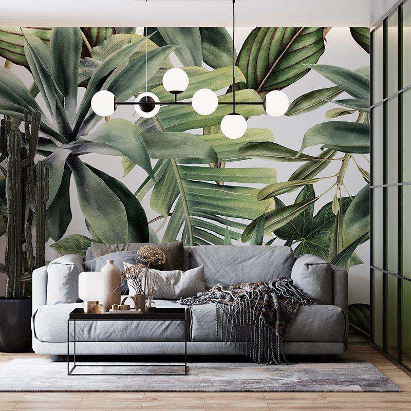 Fototapeta Wzór tropikalnych liści na białym tle