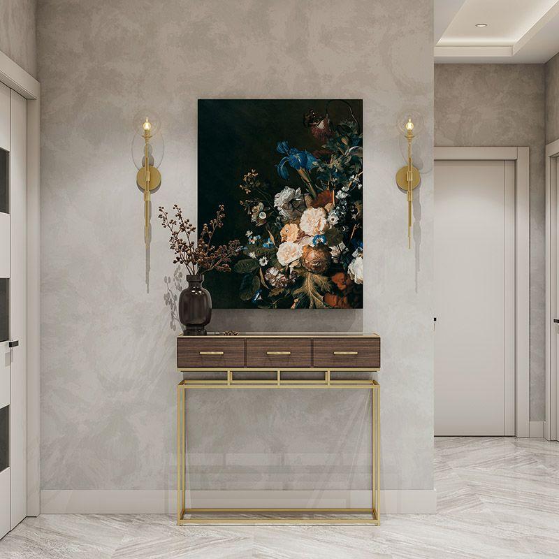 Obraz na płótnie, bukiet kwiatów na ciemnym tle, malarstwo