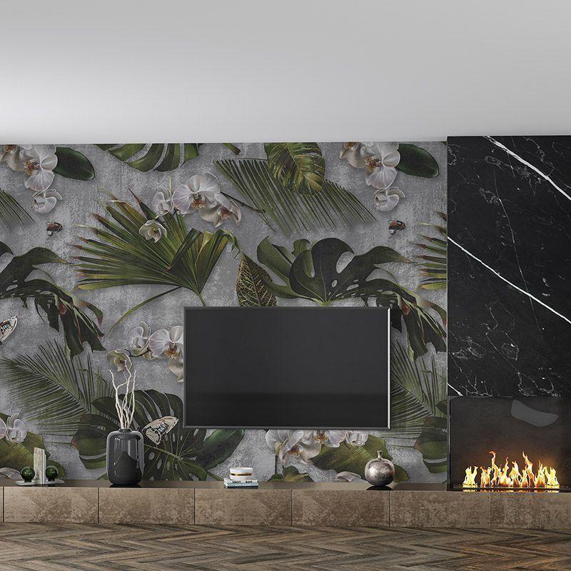 Fototapeta Orchidea i liście palmy na betonowym tle, wzór botaniczny