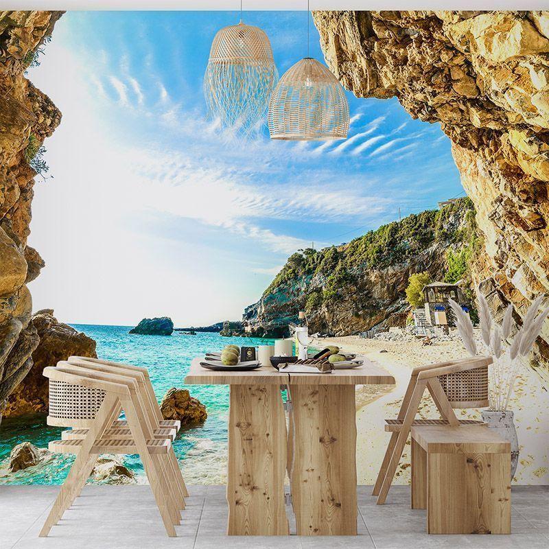 Fototapeta widok na plażę pomiędzy skałami